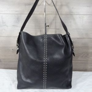 Brighton Black Silver Leather Tooled Tote